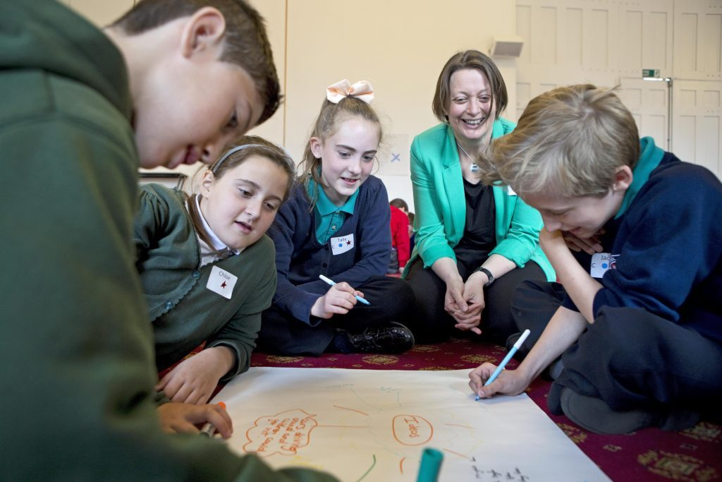 The Children's Commissioner for Wales taking part in a workshop with primary school children