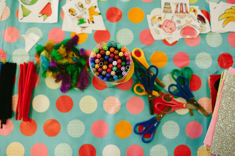 art suppplies; felt pens, scissors, pipe cleaners and feathers