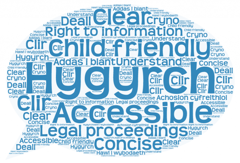 A speech bubble with various words relating to accessibility and legal proceedings