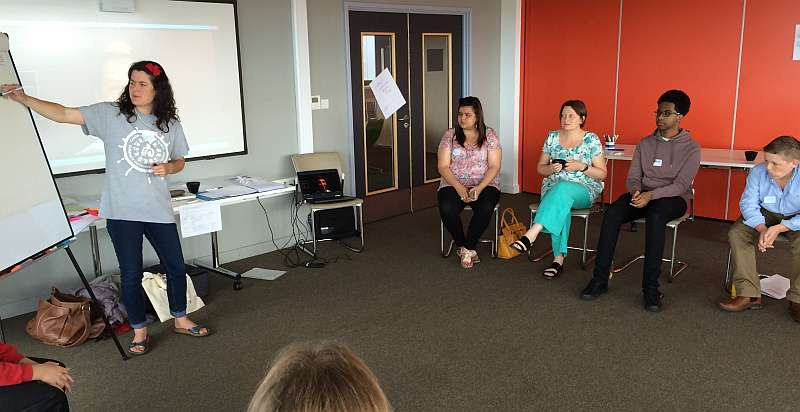 A member of staff leading a workshop with members of the young people advisory panel and Sally Holland, the Children's Commissioner for Wales