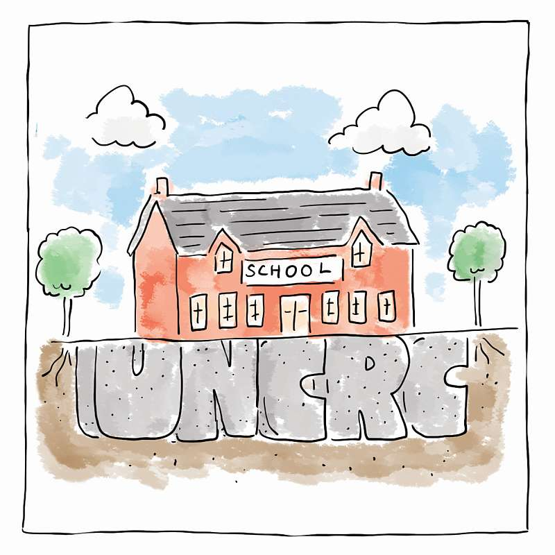 Cartoon of a school building with UNCRC written in the ground under the school