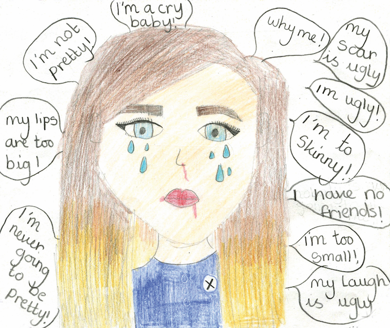 "Drawing of a young girl crying with the words ""I'm never going to be pretty"", ""My lips are too big"", ""I'm not pretty"", ""I'm a cry baby"", ""Why me"", ""My scar is ugly"", ""I'm ugly"", ""I'm too skinny"", ""I have no friends"", ""I'm too small"" and ""My laugh is ugly"" written around her head"