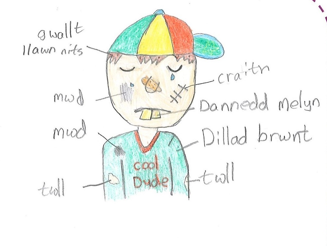 """Drawing of a child crying with the words """"twll"""", """"mwd"""", """"gwallt llawn nits"""", """"craith"""", """"dannedd melyn"""" a """"dillad brwnt"""" pointing at different elements of the drawing."""