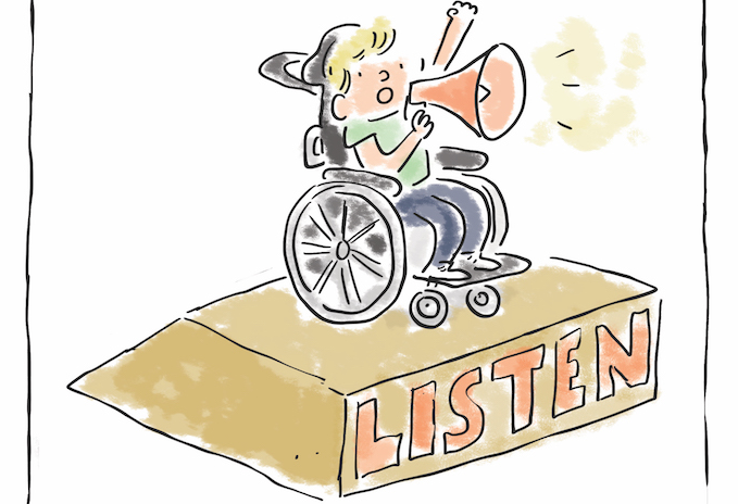 A catroon of a young person in a wheelchair using a megaphone on a platform with the word 'LISTEN' written on it.